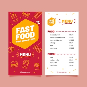 Fast food template for restaurant
