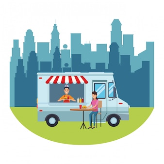 Fast food truck cartoon