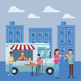 Fast food truck cartoon