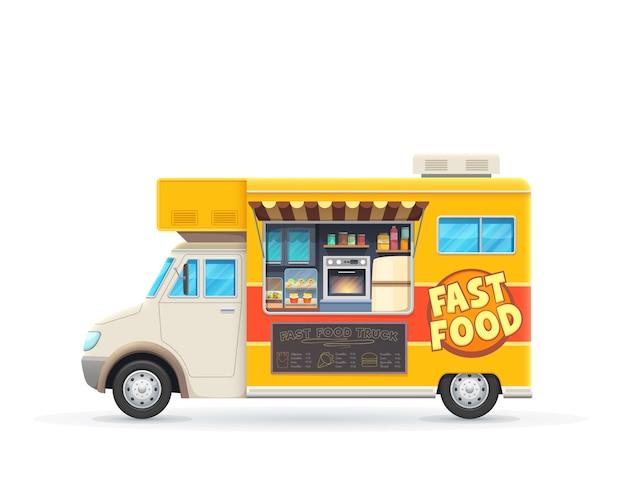 ファーストフードトラックの孤立した車、ストリートジャンクフード販売のための漫画の黄色いバン。車輪付きのカフェまたはレストラン、黒板メニュー付きの交通機関、ファーストフードの品揃え、食事を調理するためのオーブン