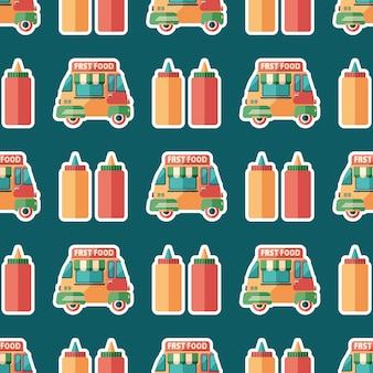 Fast food van flat art seamless pattern.