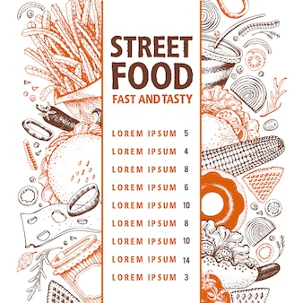 Fast food vector banner. street food menu design template.