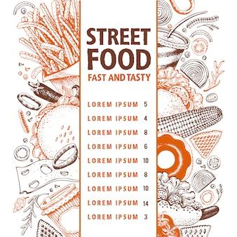패스트 푸드 벡터 배너입니다. 길거리 음식 메뉴 디자인 템플릿입니다.