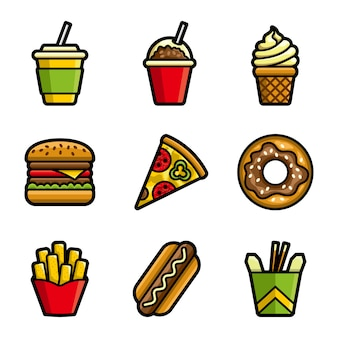 Fast food vector colored icon set
