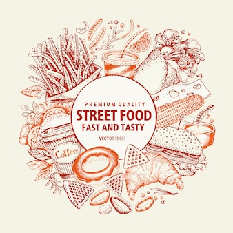 Fast food vector design template. street food banner.