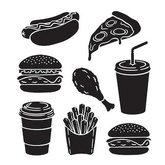 ファーストフードのベクトルのアイコンのシルエットは、ピザのハンバーガーチーズバーガーホットドッグスライスを設定します