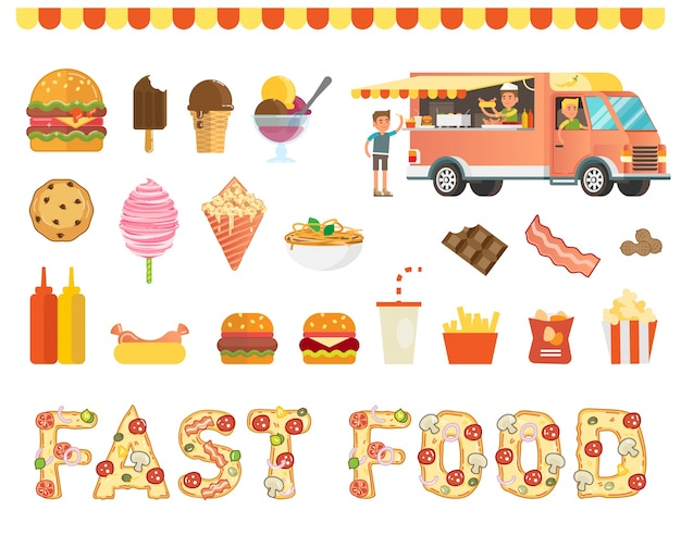 Fast food vector illustration collection with food truck