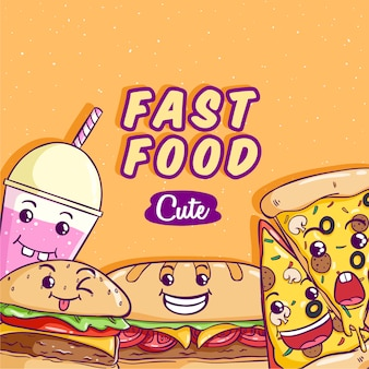 Fast food vector with cute or kawaii face on orange