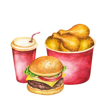 Fast food watercolor. french fries, burger, hot dog, cola set watercolor illustration. painting food  isolated on white background. aquarelle fast food for restaurant menu .