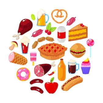 Fast food on white background. vector illustration.