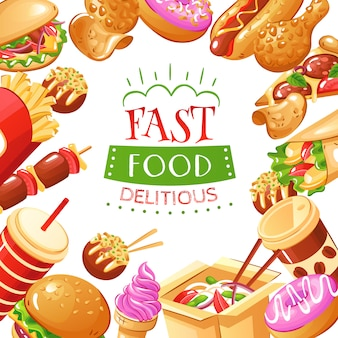 Fast food with burgers hot dogs drinks french fries pizza and desserts illustration
