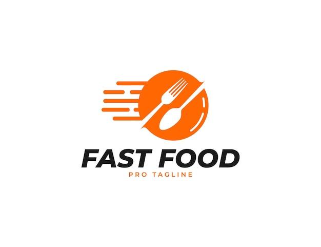 Ресторан быстрого питания с вилкой и ложкой или шаблон логотипа кейтеринга