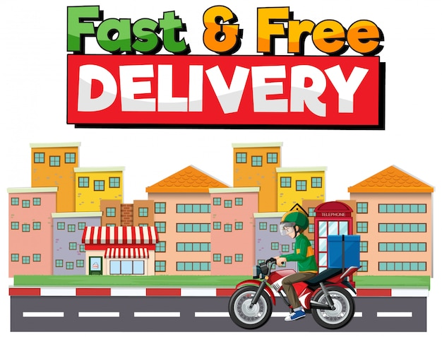 Fast and free delivery logo with bike man or courier ri in the city