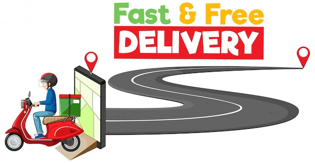Logo di consegna veloce e gratuito con bike man o corriere