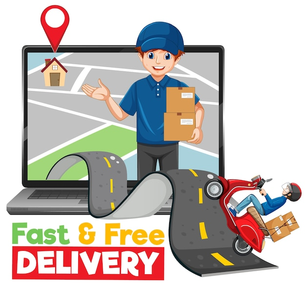 Fast and free delivery logo with bike man and courier