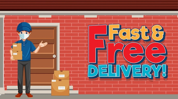 Fast and free delivery logo with courier