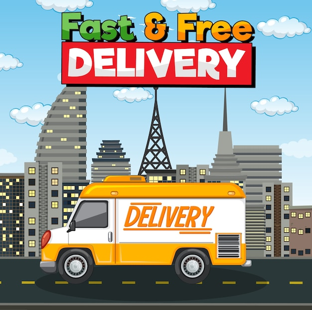Fast and free delivery logo with delivery van or truck in the city