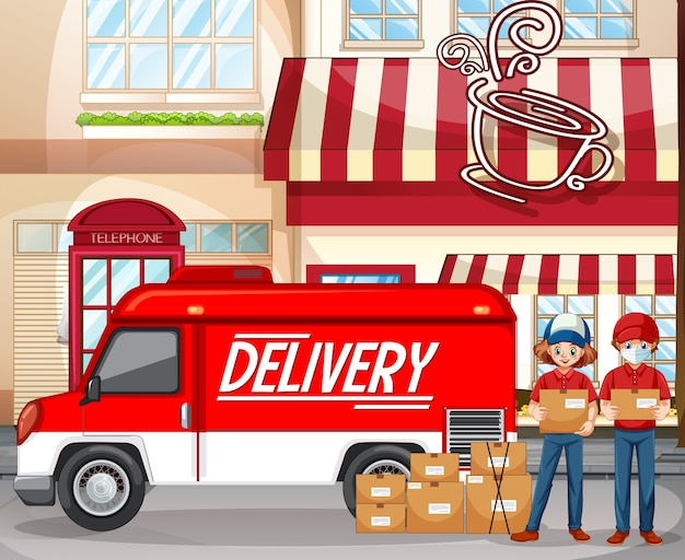 Fast and free delivery logo with delivery van or truck at the coffee shop