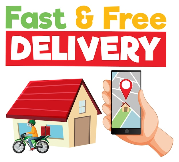 Fast and free delivery logo with smartphone