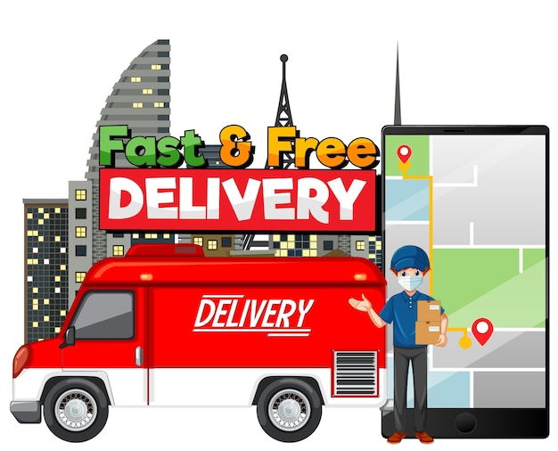 Fast and free delivery van with delivery man