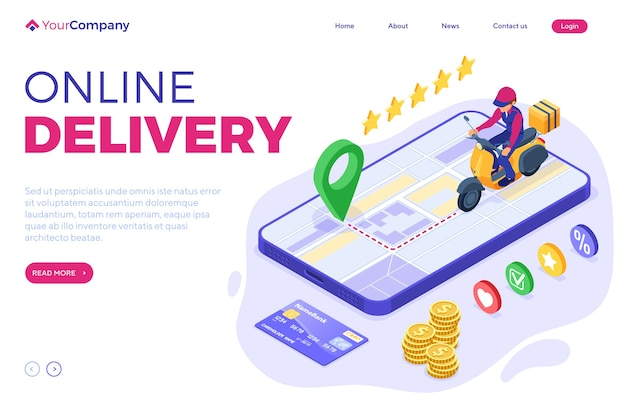 Fast and free online food order and package delivery service fast food shipping isometric courier on scooter delivery man on moped tracking online order on phone isometric vector illustration