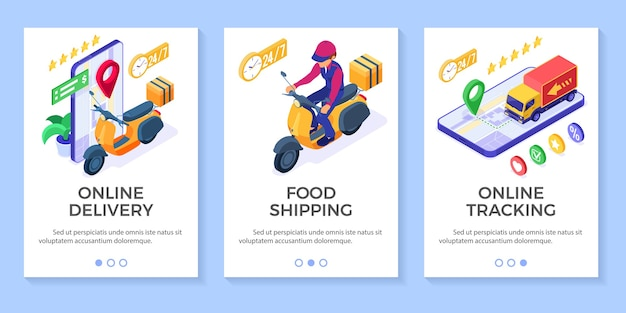 Fast and free online food order and package delivery service fast food shipping isometric scooter delivery with moped and truck rating and tracking online order on phone isometric