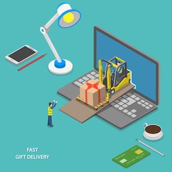 Быстрая доставка подарков в изометрии Premium векторы