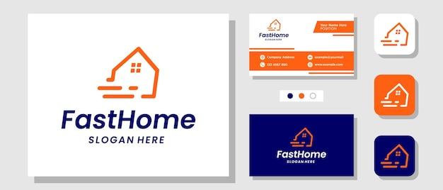 レイアウトテンプレート名刺と高速住宅スピード住宅配達販売ロゴデザイン