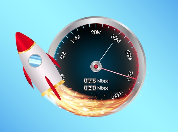 Fast internet speed test meter with toy space rocket