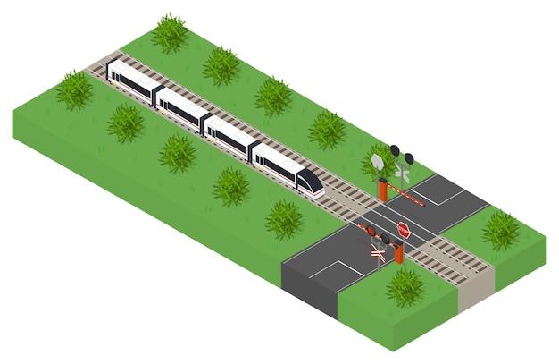 Fast isometric modern train public transport highspeed intercity transportation of passengers