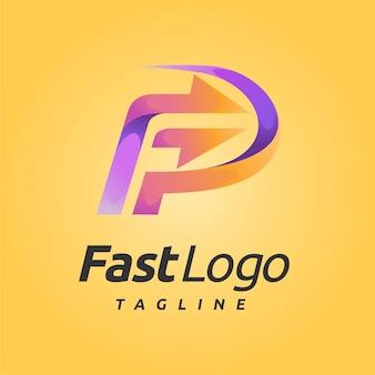 Быстрый логотип с буквой f концепции