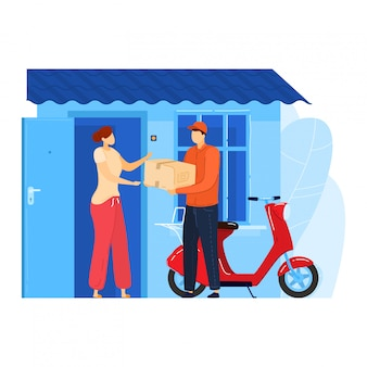 Fast mail service, male character postman drive motorbike supply order to client woman isolated on white, cartoon illustration.