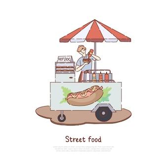 Бизнес по продаже быстрой еды Premium векторы