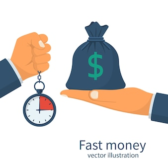 Fast money. granting a loan in a short time.