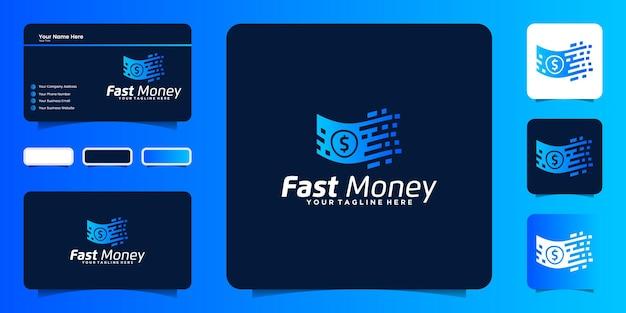 Дизайн логотипа быстрых денег, цифровые деньги и вдохновение для визиток