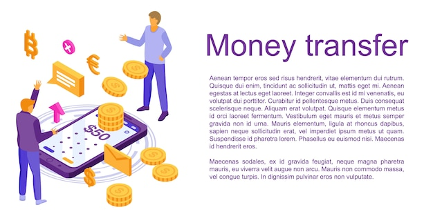 Fast money transfer concept banner, isometric style