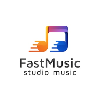 Fast music logo, studio record logo design vector template