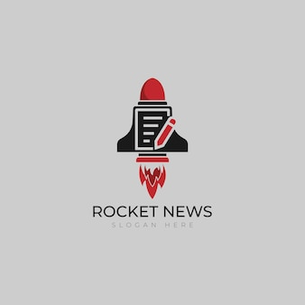 Fast newspaper rocket logo vector template