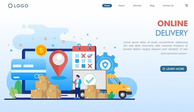 Fast online delivery landing page template