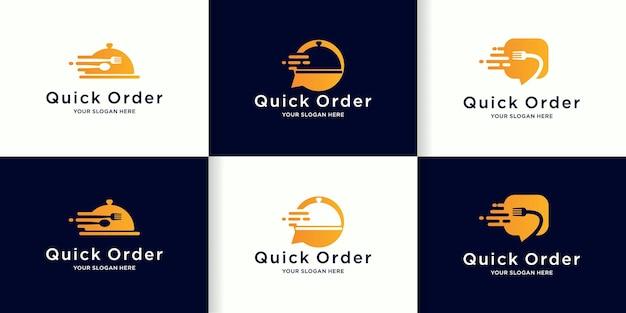 迅速な注文と食品配達のロゴ