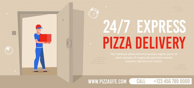 Fast pizza delivery service banner advertisement