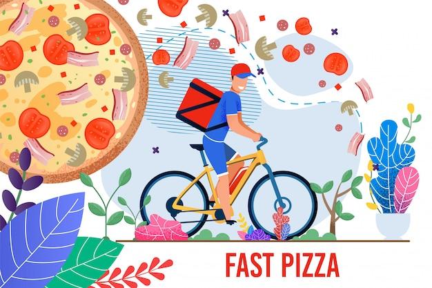 Fast pizza illustration with man