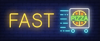Fast pizza neon sign