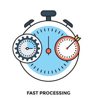 Fast processing flat vector icon