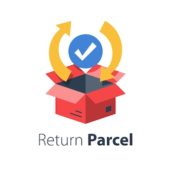 Fast processing store order, parcel shipment, tracking cargo box, goods distribution services, delivery warranty,  flat illustration