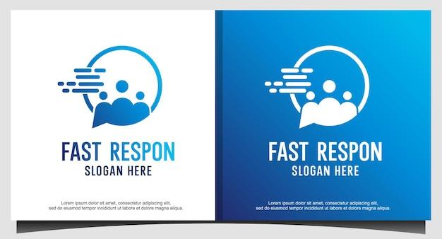 빠른 응답 사람들 채팅 비즈니스 로고 디자인