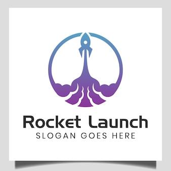 빠른 로켓 발사 로고, 우주선 아이콘. 우주선 기호입니다. 인터넷 기술 마케팅 아이디어 서명 로고 템플릿 시작