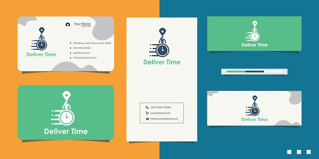 Fast service stopwatch speed logo design and business card