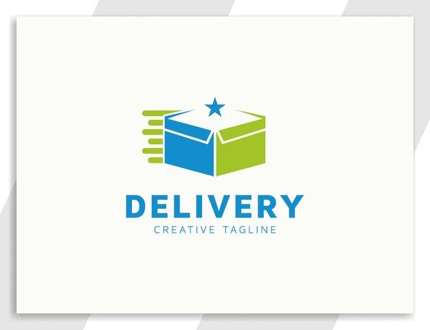 Концепция дизайна логотипа коробки быстрой доставки