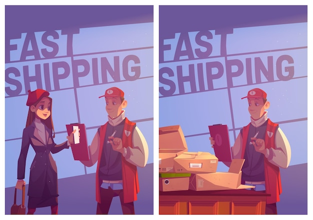 Fast shipping cartoon posters young woman visit post office to receive package show mobile phone to ...